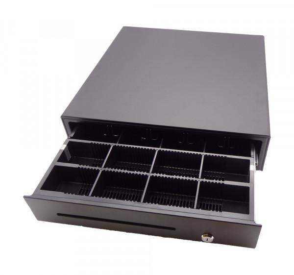 Kasse Hochwertige kugelgelagerte Kassenlade 410x420x100mm, 4 Scheinfächer, 8 Münzfächer